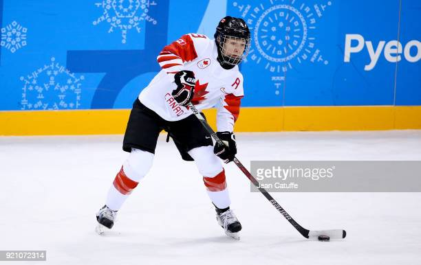 Jocelyne Larocque of Canada during the women's semifinal ice hockey match between Canada and Olympic Athletes from Russia at Gangneung Hockey Centre...