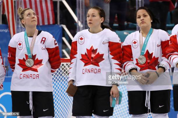 Jocelyne Larocque of Canada refuses to wear her silver medal after losing to the United States in the Women's Gold Medal Game on day thirteen of the...