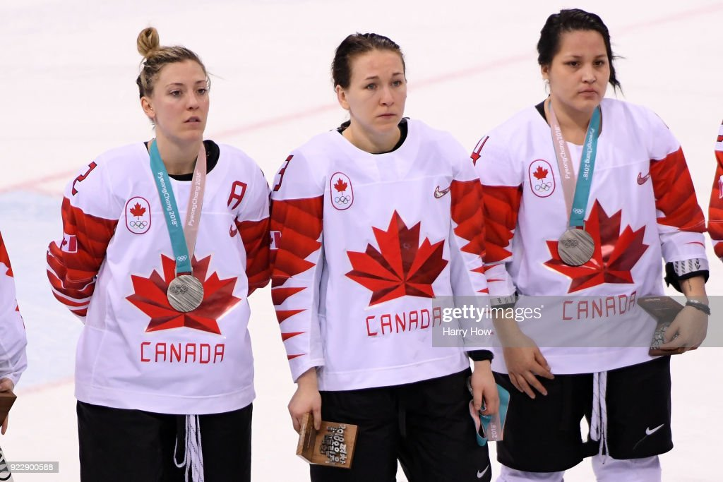Jocelyne Larocque #3 of Canada refuses to wear her silver medal after losing to the United States in the Women's Gold Medal Game on day thirteen of the PyeongChang 2018 Winter Olympic Games at Gangneung Hockey Centre on February 22, 2018 in Gangneung, South Korea.