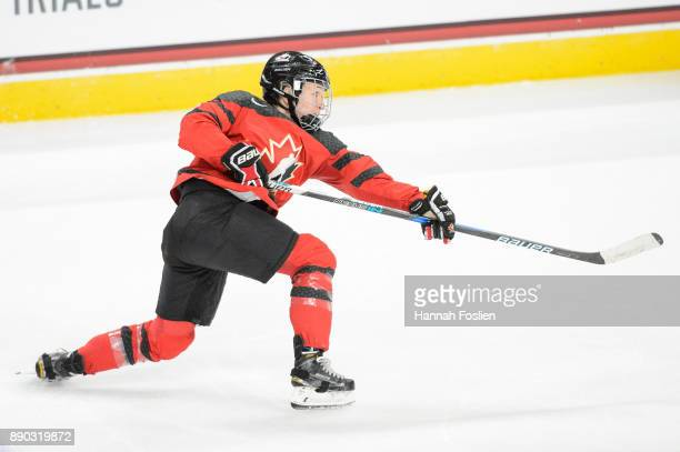 Jocelyne Larocque of Canada shoots the puck against the United States during the game on December 3 2017 at Xcel Energy Center in St Paul Minnesota...