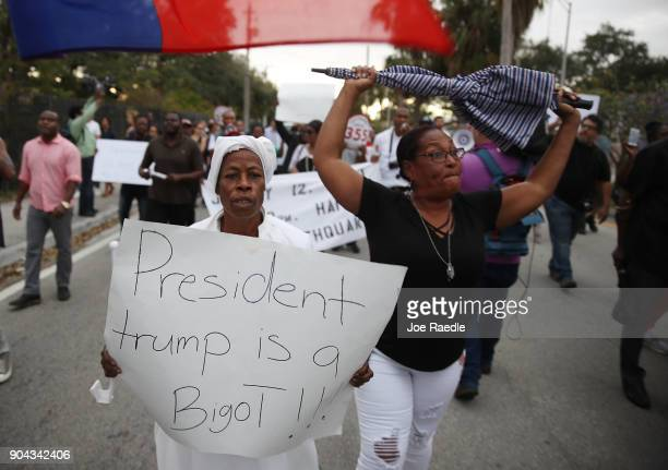 Jocelyne Pierre and Yanick Gorneo join with others to mark the 8th anniversary of the massive earthquake in Haiti and to condemn President Donald...