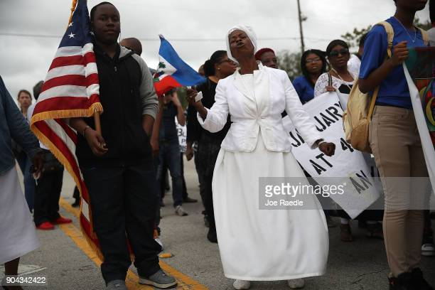 Jocelyne Pierre joins with others to mark the 8th anniversary of the massive earthquake in Haiti and to condemn President Donald Trump's reported...