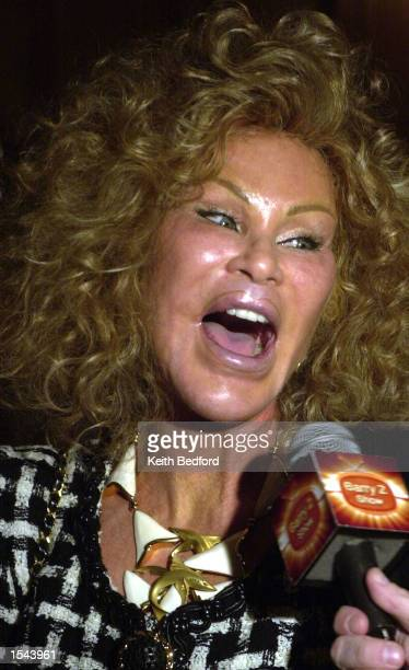 Jocelyne Wildenstein arrives for the Helen Yarmak fashion show May 20 2002 at the Russian Embassy in New York City