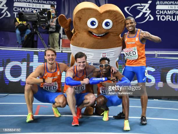 Jochem Dobber, Liemarvin Bonevacia, Ramsey Angela and Tony van Diepen of Team Netherlands celebrate following their victory in the 4 x 400m Relay Men...