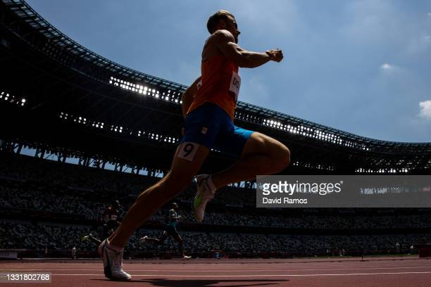 Jochem Dobber of Team Netherlands competes in round one of the Men's 400m heats on day nine of the Tokyo 2020 Olympic Games at Olympic Stadium on...