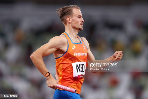 Jochem Dobber of Team Netherlands competes in the Men's 4 x 400m Relay on day fourteen of the Tokyo 2020 Olympic Games at Olympic Stadium on August...