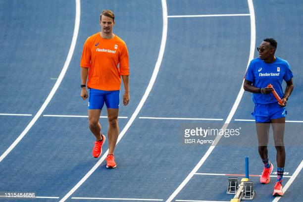 Jochem Dobber of The Netherlands and Liemarvin Bonevacia of The Netherlands during a Training Session of World Athletics Relays Silesia21 at Silesian...