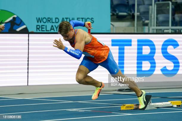 Jochem Dobber of The Netherlands competes in heat 2 of the Mens 4x400 metres relay during the World Athletics Relays Silesia21 at Silesian Stadium on...