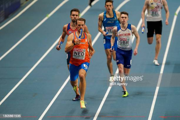 Jochem Dobber of The Netherlands competing in the Men's 4x400m Relay final during the European Athletics Indoor Championships 2021 at Torun Arena on...