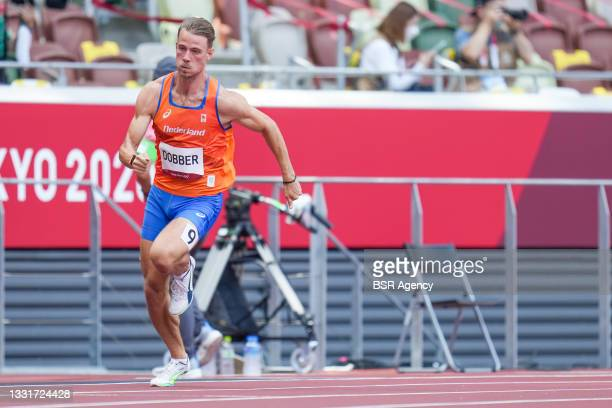 Jochem Dobber of the Netherlands competing on Men's 400m Round 1 during the Tokyo 2020 Olympic Games at the Olympic Stadium on August 1, 2021 in...