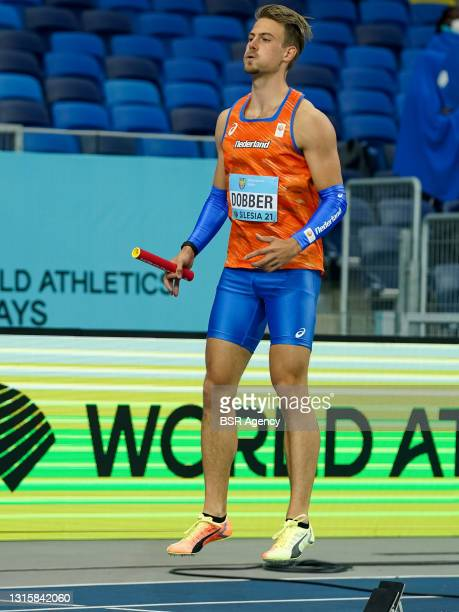 Jochem Dobber of The Netherlands prepares for heat 2 of the Mens 4x400 metres relay during the World Athletics Relays Silesia21 at Silesian Stadium...