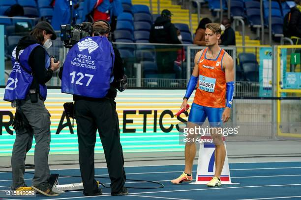 Jochem Dobber of The Netherlands prepares for his race in heat 2 of the Mens 4x400 metres relay during the World Athletics Relays Silesia21 at...