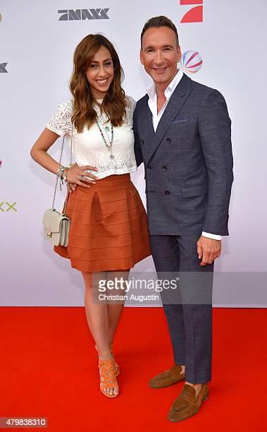 Jochen Bendel and Melissa Khalaj attend the program presentation of the television channel ProSiebenSat.1 at Hamburg Cruise Centre Altona on July 7,...