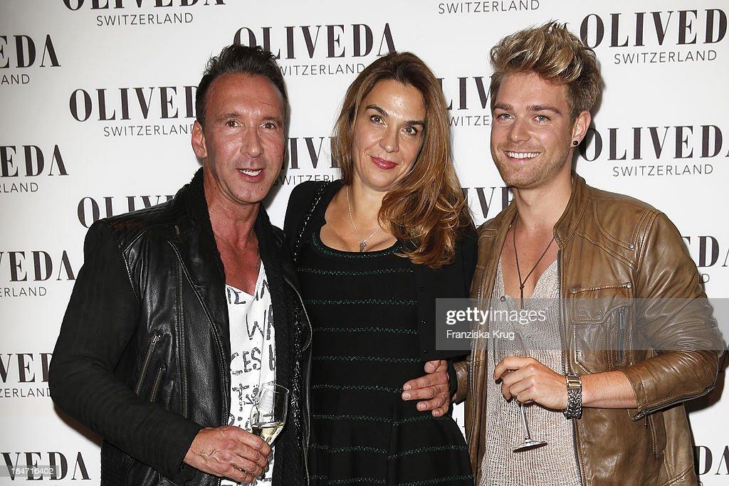 Jochen Bendel, Jasmine Spezie and Mathias Pridoehl attend the OLIVEDA - Launch Party at Bayerischer Hof on October 15, 2013 in Munich, Germany.