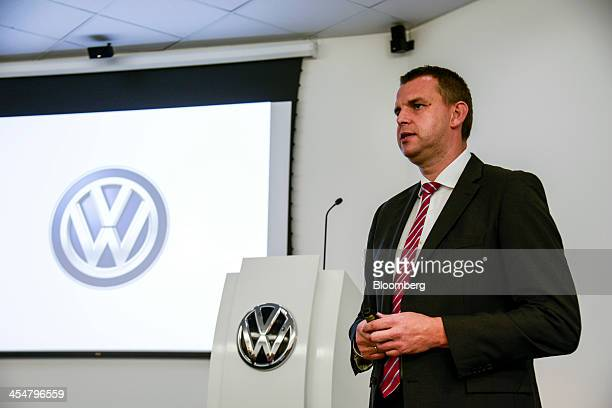 Jochen Funk director of brand strategy at Volkswagen do Brasil speaks during an event to mark the final series of the company's classic camper van or...