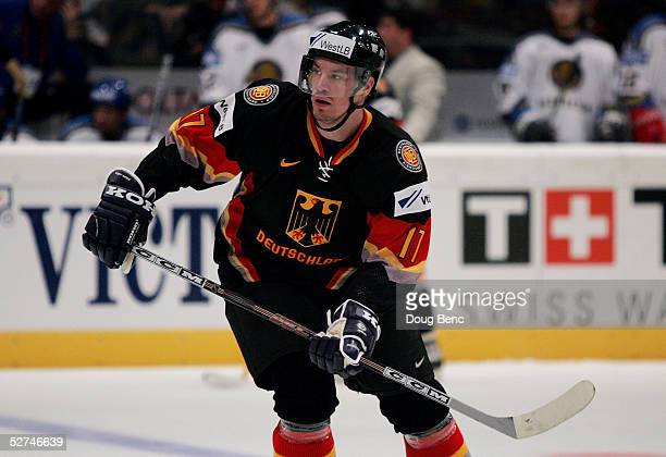 Jochen Hecht of Germany skates against Kazakhstan in the IIHF World Men's Championships preliminary round group D game at Wiener Stadthalle on May 1...
