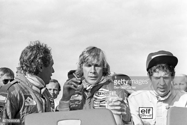 Jochen Mass, James Hunt, Jody Scheckter, Grand Prix of Germany, Nurburgring, 01 August 1976. Moody atmosphere after winning the German Grand Prix,...