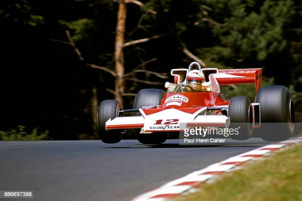 Jochen Mass, McLaren-Ford M23, Grand Prix of Germany, Nurburgring, 01 August 1976. Jochen Mass flying at the wheel of his McLaren M23 on the...