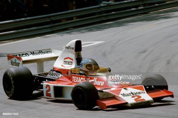 Jochen Mass McLarenFord M23 Grand Prix of Spain Montjuic circuit Barcelona 27 April 1975 Jochen Mass on the way to victory in the 1975 Spanish Grand...