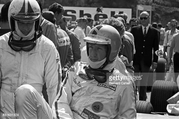 Jochen Rindt Chris Amon Grand Prix of France Circuit de Charade ClermontFerrand 06 July 1969 Jochen Rindt wearing the spare helmet of his friend...