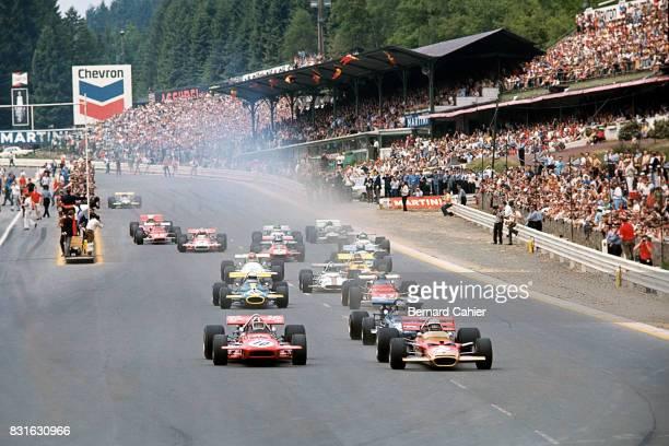 Jochen Rindt Chris Amon Jackie Stewart Jack Brabham Jacky Ickx LotusFord 49B MarchFord 701 BrabhamFord BT33 Ferrari 312B Grand Prix of Belgium Spa...