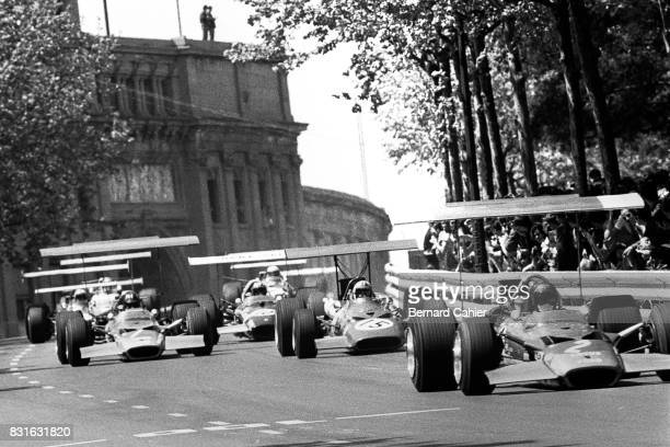 Jochen Rindt Graham Hill Chris Amon Jo Siffert LotusFord 49B Ferrari 312 Grand Prix of Spain Montjuic 04 May 1969 The crazy and dangerous days of the...