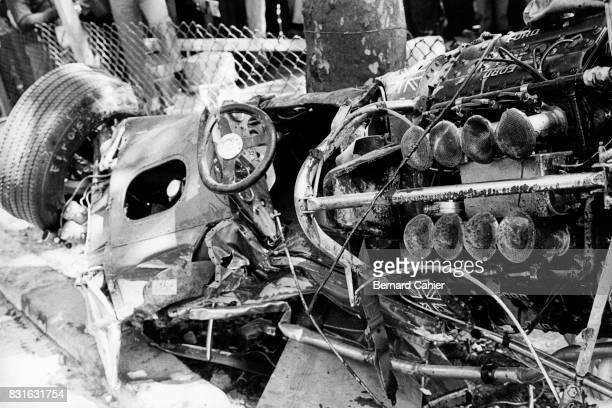 Jochen Rindt LotusFord 49B Grand Prix of Spain Montjuic 04 May 1969 Jochen Rindt's car after his accident caused by a rear wing failure He was...
