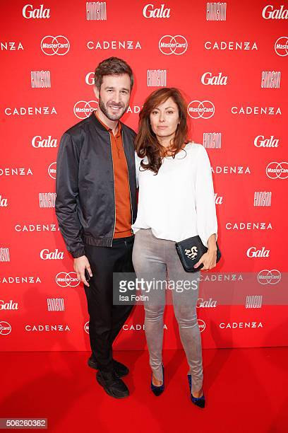 Jochen Schropp and Carolina Vera attend the 'Gala' fashion brunch during the MercedesBenz Fashion Week Berlin Autumn/Winter 2016 at Ellington Hotel...