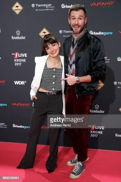 Jochen Schropp and Paula Schramm attend the 1Live Krone radio award at Jahrhunderthalle on December 07, 2017 in Bochum, Germany.