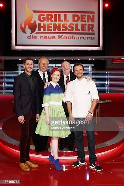 Jochen Schropp Heinz Horrmann Enie van de Meiklokjes and Reiner Calmund and Steffen Henssler attend the 'Grill den Henssler die neue Kocharena'...