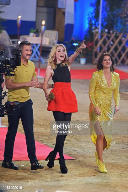 Jochen Schropp Theresia Fischer and Marlene Lufen during the Promi Big Brother final at MMC Studios on August 23 2019 in Cologne Germany