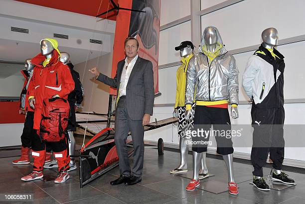 Jochen Zeitz chief executive officer of Puma AG poses with the company's sailing collection in Herzogenaurach Germany on Tuesday Oct 26 2010 Puma AG...