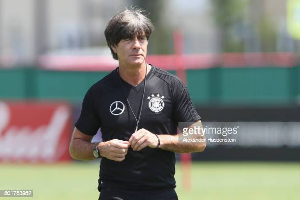 Jochim Loew head coach of team Germany looks on during a team Germany training session at Park Arena training ground on June 27 2017 in Sochi Russia