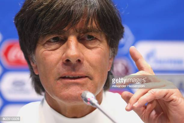Jochim Loew head coach of team Germany talks to the media during a Press Conference of the German national team ahead of their FIFA Confederations...