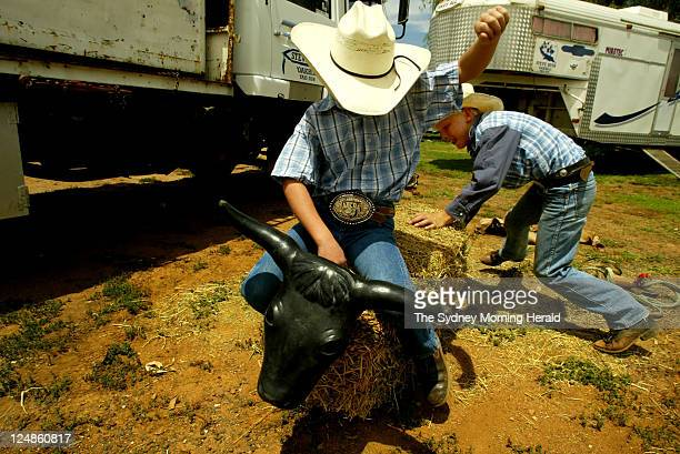 Jock Bone-Langdon aged 9 from Muswellbrook who is 4th in the nation for the Under 11 calf ride lassooing a mock bull while riding his apprentice Josh...