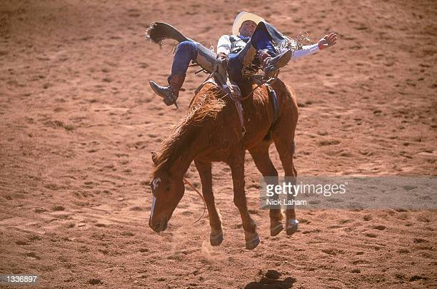 Jock Hislop rides in the Open Bareback section during the Mount Isa Rodeo held in Mount Isa Australia on August 11 2002 The rodeo event held in the...