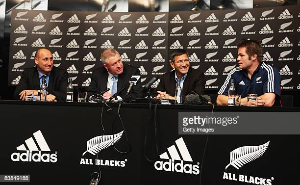 Jock Hobbs Chairman of the NZRU, Steve Tew NZRU CEO, Herbert Hainer CEO and Chairman of adidas AG and All Black captain Richie McCaw attend a press...