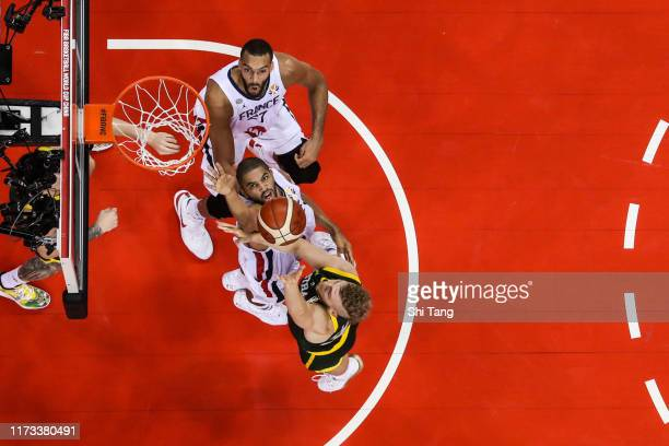 Jock Landale of Australia drives during 2nd round Group L match between Australia and France of 2019 FIBA World Cup at Nanjing Youth Olympic Sports...