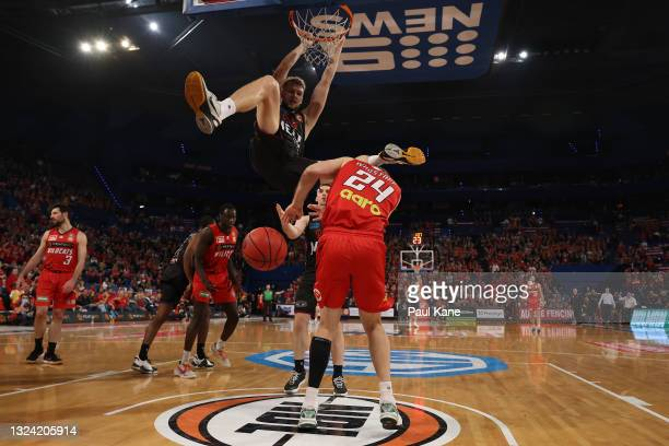 Jock Landale of Melbourne United dunks during game one of the NBL Grand Final Series between the Perth Wildcats and Melbourne United at RAC Arena, on...