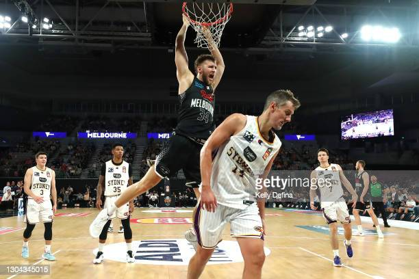 Jock Landale of Melbourne United dunks during the NBL Cup match between Melbourne United and the Sydney Kings at John Cain Arena on February 27 in...