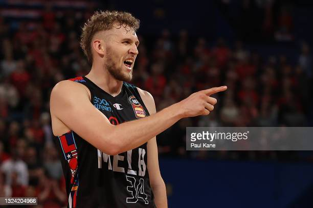 Jock Landale of Melbourne United gestures to the Wildcats bench during game one of the NBL Grand Final Series between the Perth Wildcats and...