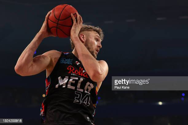 Jock Landale of Melbourne United rebounds during game one of the NBL Grand Final Series between the Perth Wildcats and Melbourne United at RAC Arena,...