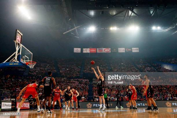 Jock Landale of Melbourne United shoots a free throw during game one of the NBL Grand Final Series between the Perth Wildcats and Melbourne United at...