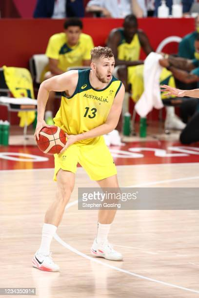 Jock Landale of the Australia Men's National Team handles the ball during the game against the Germany Men's National Team during the 2020 Tokyo...