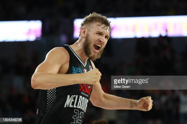 Jock Landale of United celebrates after winning the NBL Cup match between Melbourne United and the Sydney Kings at John Cain Arena on February 27 in...
