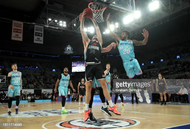 Jock Landale of United drives at the basket during the round 13 NBL match between Melbourne United and the New Zealand Breakers at John Cain Arena,...