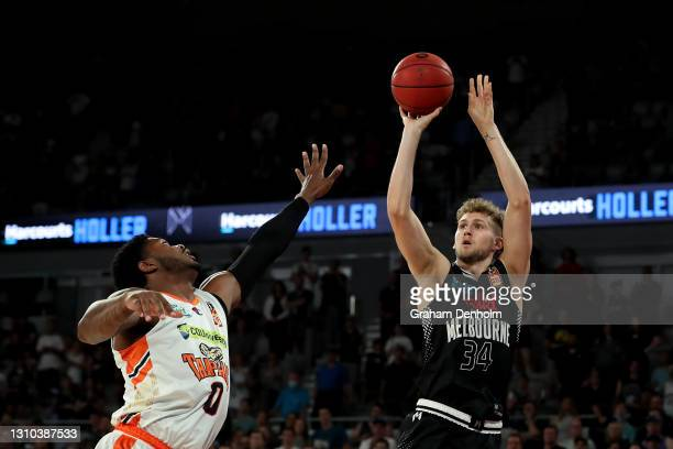 Jock Landale of United shoots during the round 12 NBL match between Melbourne United and the Cairns Taipans at John Cain Arena, on April 02 in...