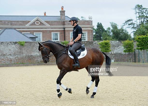 Jock Paget of New Zealand with his horse Clifton Promise during the Team New Zealand Olympic Equestrian Eventing media day at Park House on July 18...