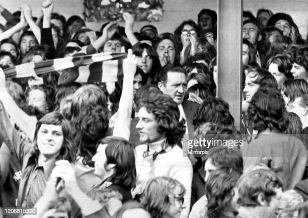 Jock Stein amongst the crowd at Annfield in Stirling August 1972 after climbing into crowd to talk to rowdy supporters during Stirling Albion versus...