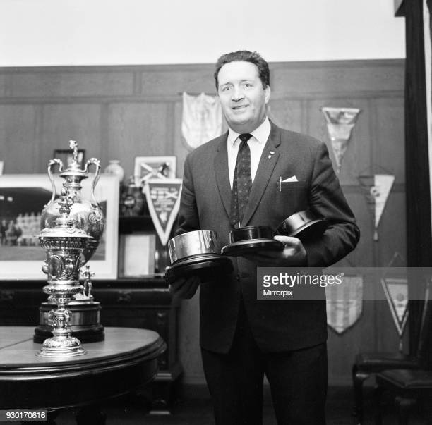 Jock SteinManager Celtic Football Club pictured with trophies June 1967